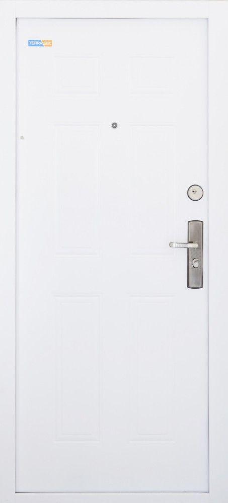 Fehér TerraSec biztonsági ajtó lépcsőházba - Classic Line mintával, Selyemfényű