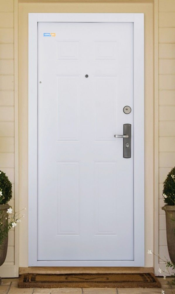 Fehér TerraSec kültéri biztonsági ajtó - Classic Line mintával, Selyemfényű