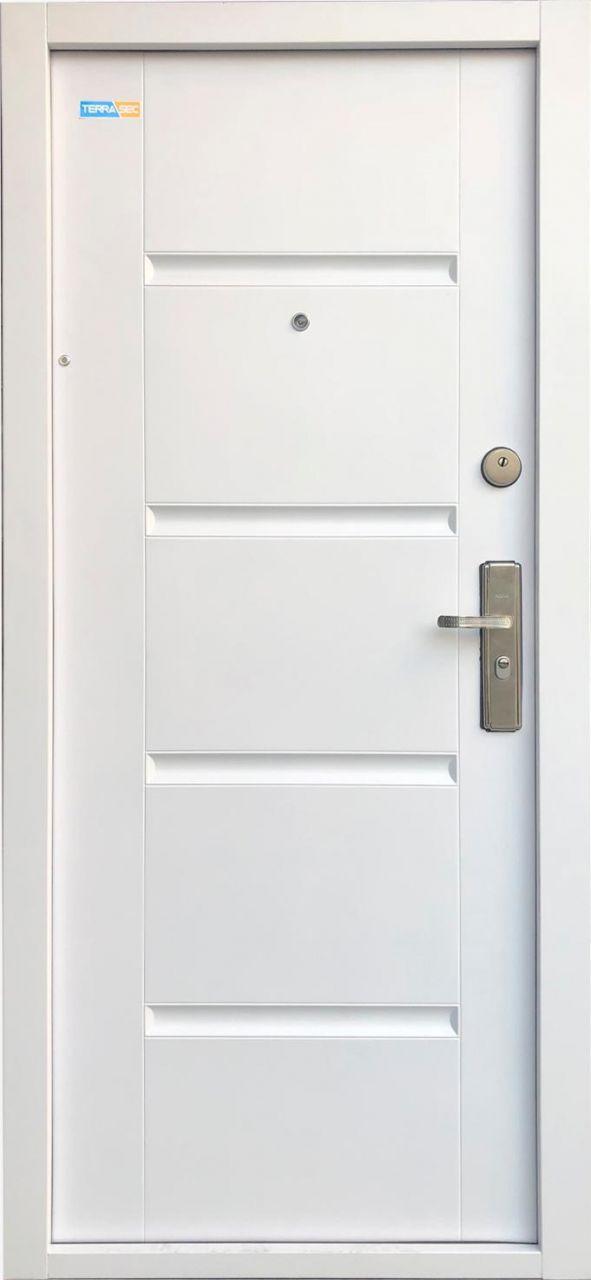 Fehér TerraSec biztonsági ajtó lépcsőházba - Luxury Line mintával, Selyemfényű